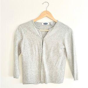 Old Navy Grey 3/4 Sleeve Cardigan Sweater